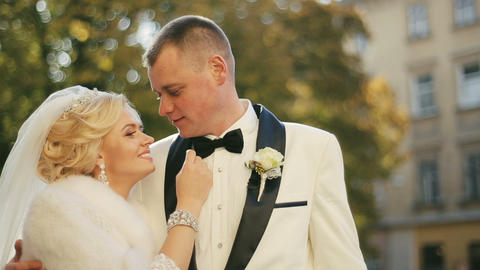 Beautiful Wedding Couple Lovely Embraces stock footage