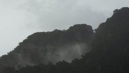 Mist and Rain Over Tropical Mountains with Sound Footage