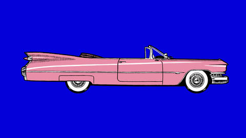 Pink Cadillac. Classic Style UHD Animation On Chroma Key Blue Screen stock footage