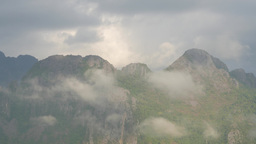 TIMELAPSE Karst Mountains And Misty Morning Clouds,Vang Vieng,Laos stock footage