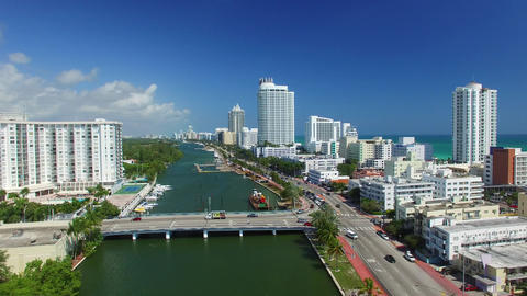 Aerial view of Miami South Beach along the river Footage