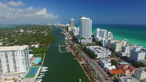 Miami Beach On A Sunny Day – Going Down, Aerial View stock footage