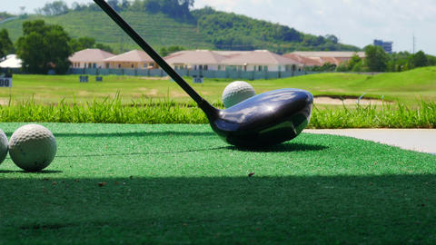 Golf Ball Behind Driver At Driving Range stock footage