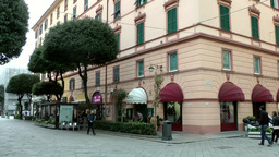 Europe Italy Liguria Savona 033 Pastel Colored Hotel Building In City Center stock footage