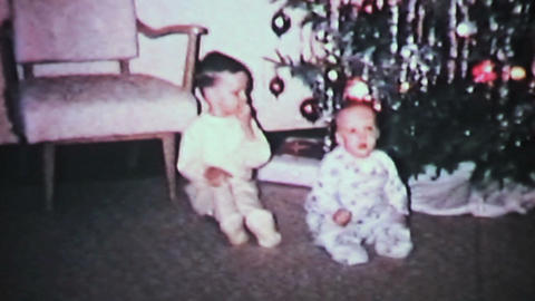 Christmas 1965 Brothers Play With Ornaments Vintage 8mm Film stock footage