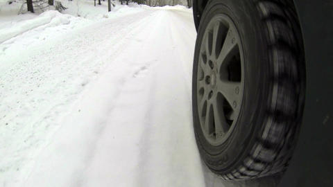 Driving By Car On Snowy Suburb Road 1 stock footage