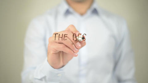 The Best Is Yet To Come, Man Writing On Transparent Screen stock footage