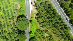 Aerial View Of Road Across Mountains stock footage