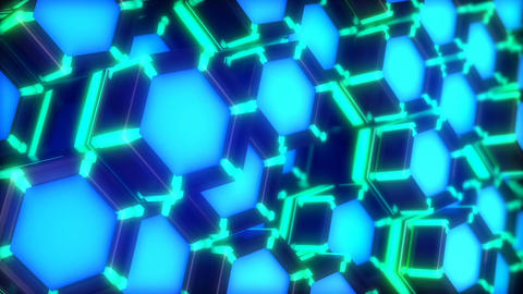 Neon Lights Hexagon vj loop side view Animation