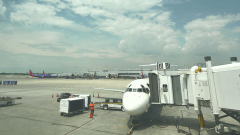 Commercial Airplane On The Gate At Midway Airport In Chicago stock footage