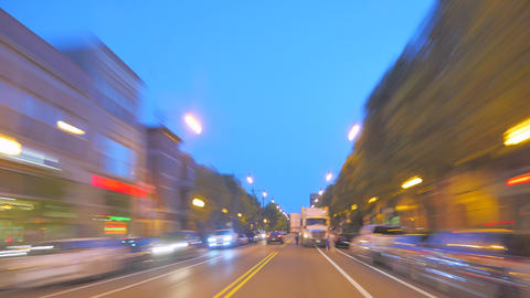 Driving At Full Speed To Downtown Chicago At Sunset stock footage