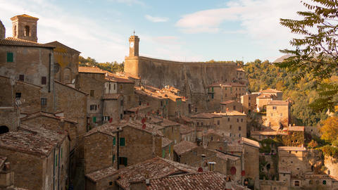 Clouds Over Sorano. Time Lapse 4K stock footage