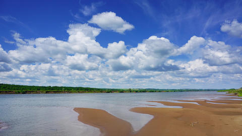 Timelapse With Clouds Over River, 4k stock footage