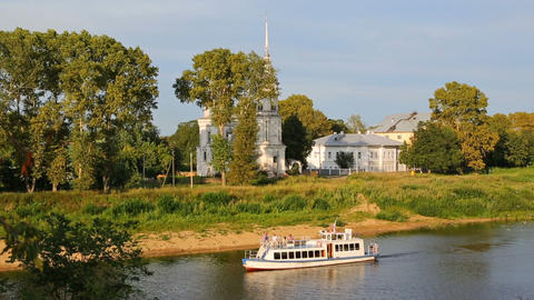 Pleasure Boat Floating On River In Vologda City stock footage