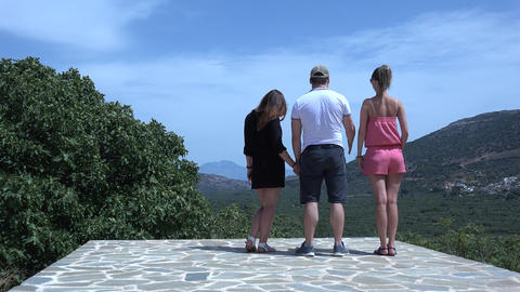 Boy And Two Girls Admire The Landscape. 4K stock footage
