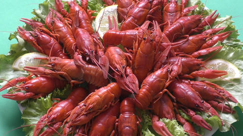 Boiled Crawfish With Beer stock footage