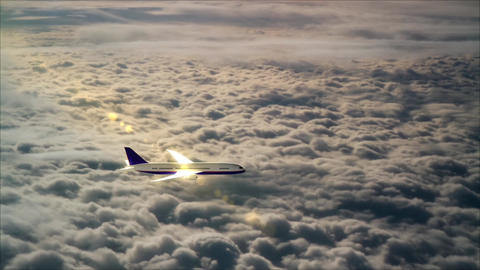 Airplane flight over the clouds Footage