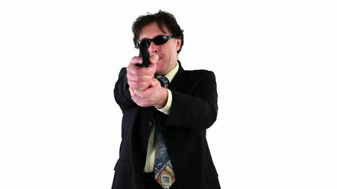 Man Shooting With A Gun stock footage