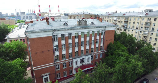 Aerial Moscow School Building Footage