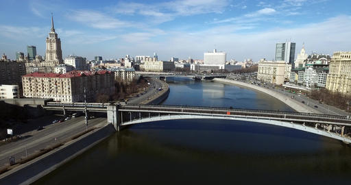 Aerial Moscow White House Subway Bridge Footage