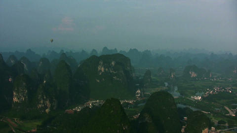 Yangshuo from hot air balloon Footage