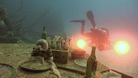 Dive Still Life On The Deck Of The Sunken Ship. Diving In The Red Sea Near Egypt stock footage