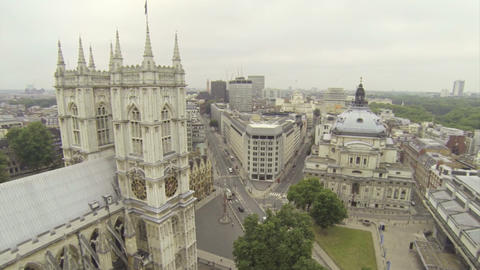 Above Westminster Abbey stock footage