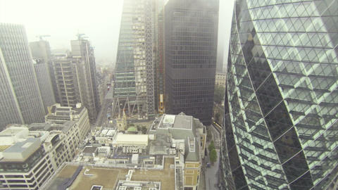 Flying around Gherkin building in London Footage