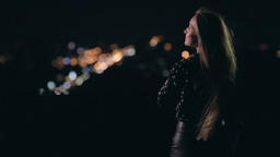 Woman Enjoying Night City From Observation Deck stock footage