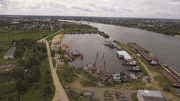 Aerial View:River Port With Cranes And Ships stock footage