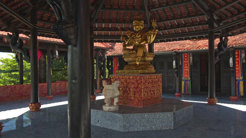 Buddha Statue On Marble Base In Buddhist Temple Main Hall stock footage