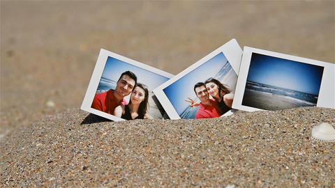 Instant Photo Of Young Happy Couple On The Beach stock footage