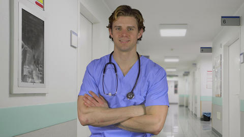 Cheerful Professional Male Doctor In Hospital stock footage