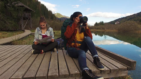 Backpackers Sitting Down stock footage