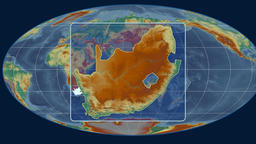 South Africa - 3D tube zoom (Mollweide projection). Relief Animation