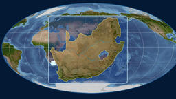 South Africa - 3D tube zoom (Mollweide projection). Satellite Animation