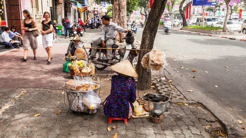 4K Timelapse Of Street Vendor In Ho Chi Minh City stock footage