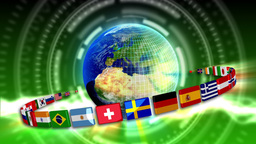 Spinning Earth With Flags - Earth 90 (HD) stock footage