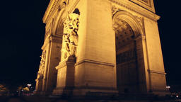 Arch Of Triumph At Night, Paris stock footage
