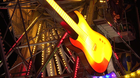 Neon Guitar. Golden Sands. Resort In Bulgaria stock footage