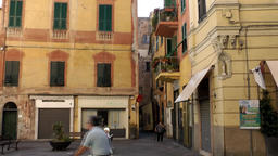 Europe Italy Liguria Albenga 027 Old People On A Piazza In Downtown stock footage