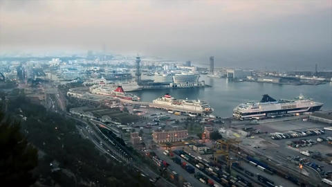Port Of Barcelona. Sunset stock footage