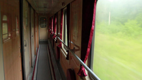 Interior Of Old Railway Carriage In Ukraine stock footage