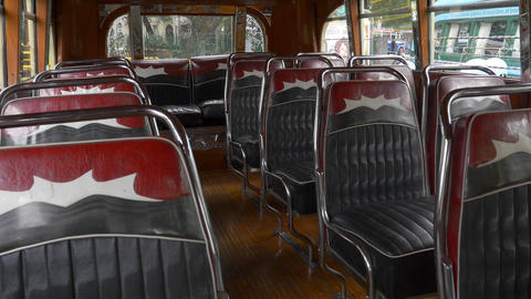 Interior Design Seats Of A Key Model Of The 1940´s Argentinian Urban Bus Public stock footage