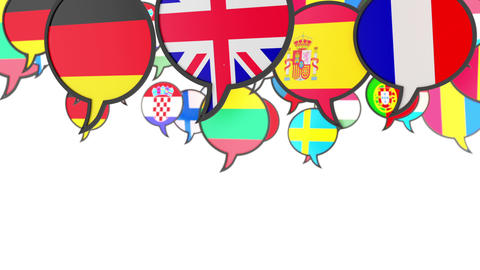 World flags in form of speech bubble Footage