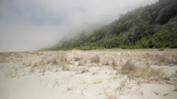 Misty Beach Looks Like A Sandstorm On Horizon stock footage