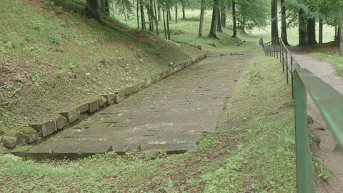 Ancient Dacian Road In Forest stock footage