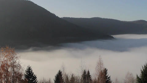 Carpathian Mountains In The Fog stock footage