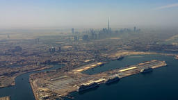 Flight over Dubai United Arab Emirates HD travel video. Aerial city Persian Gulf Footage