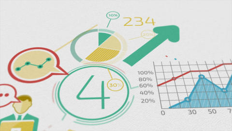 Business Background With Elements Of Infographics. 4k stock footage